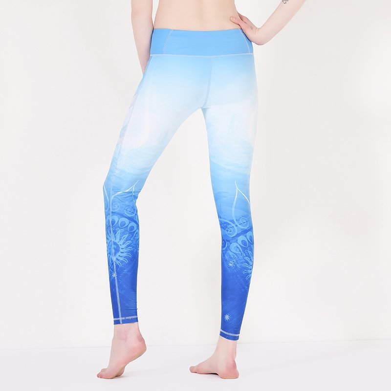 Blue floral patterned yoga pants with mesh Y1912P08