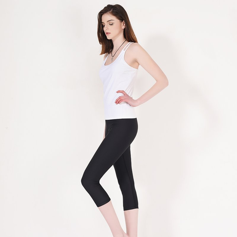 INGOR Spandex capri yoga pants plain black Y1911C01 Leggings image14