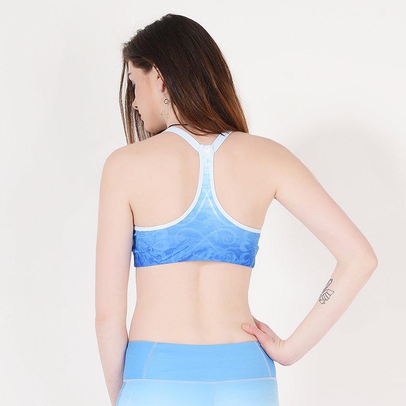 Blue sexy ladies sports bra cross back Y1912B006