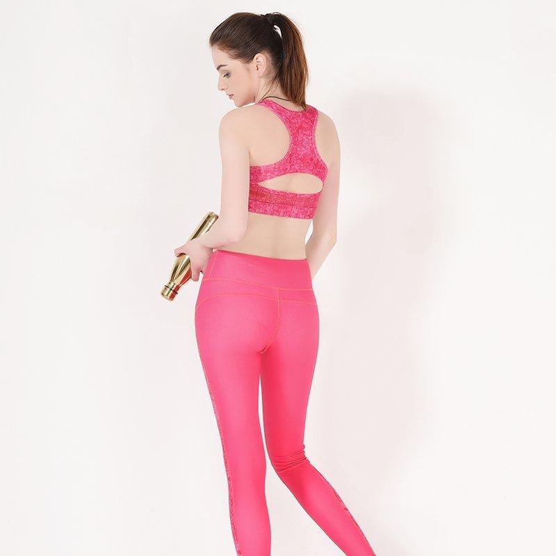Racerback padded pink sports bra yoga Y1912B04