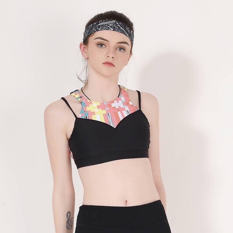 Ladies high neck sports bra top Y1913B08