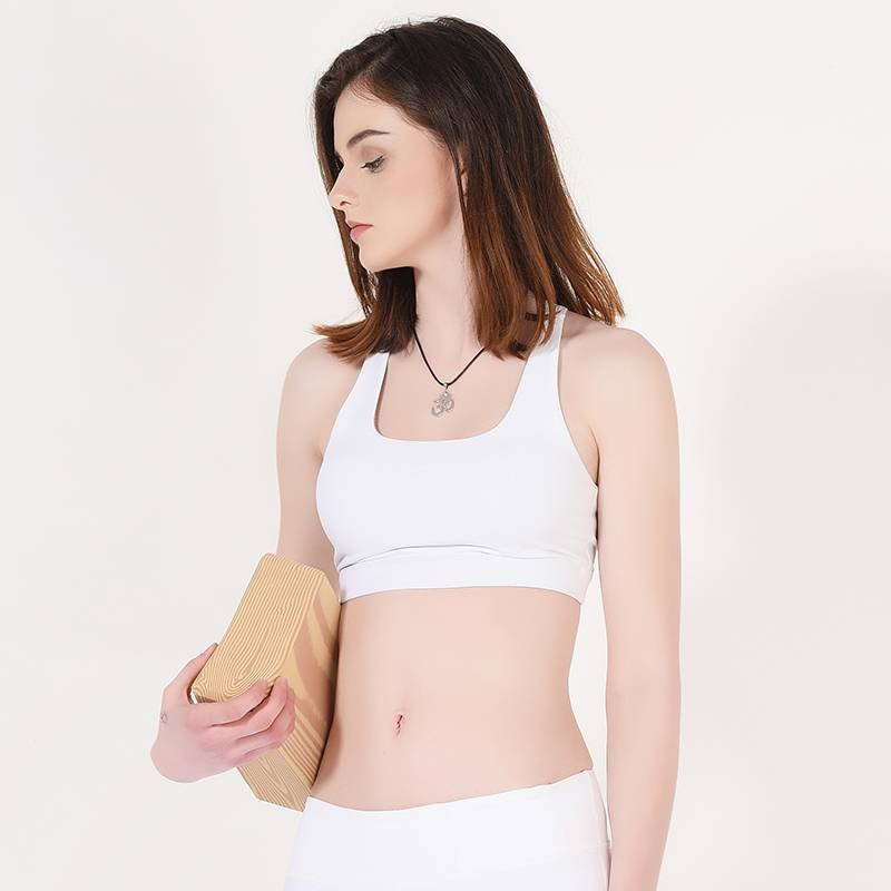 Y1911B09 Ladies White Padded Sports Yoga Bra