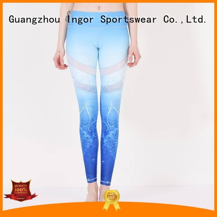 ladies leggings  blue mesh yoga pants manufacture