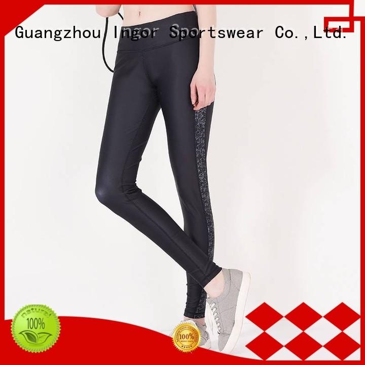 INGOR Brand blue mesh black yoga pants