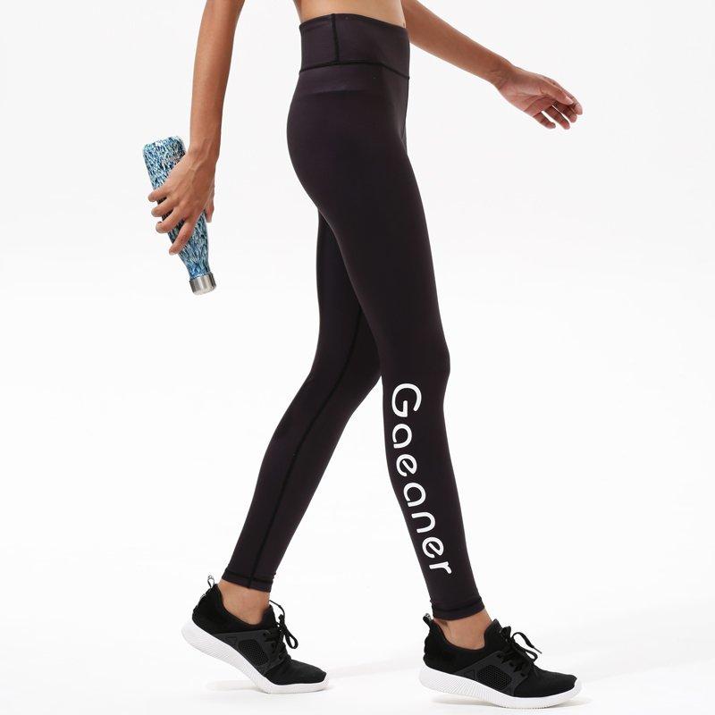 Y1921P14 Black Yoga Exercise High Waisted Leggings