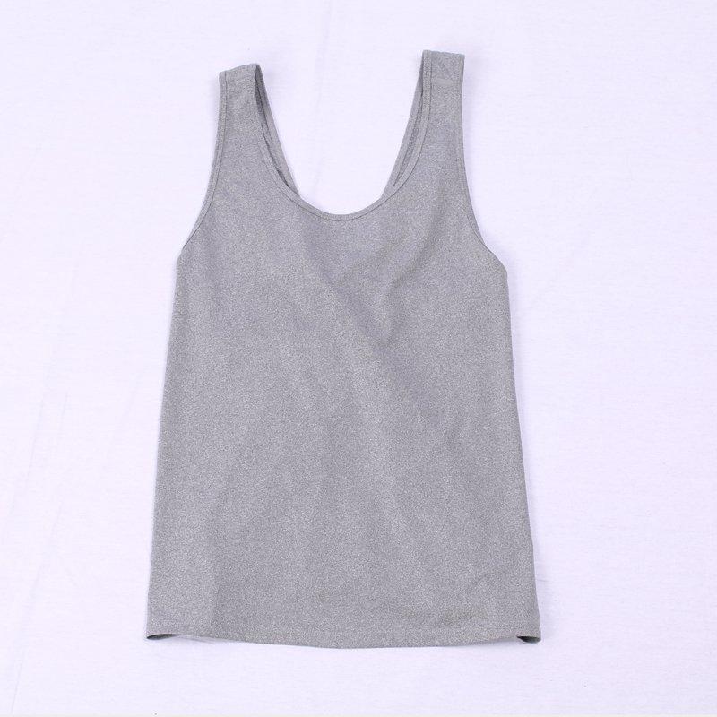 Women blank workout loose cross criss tank top