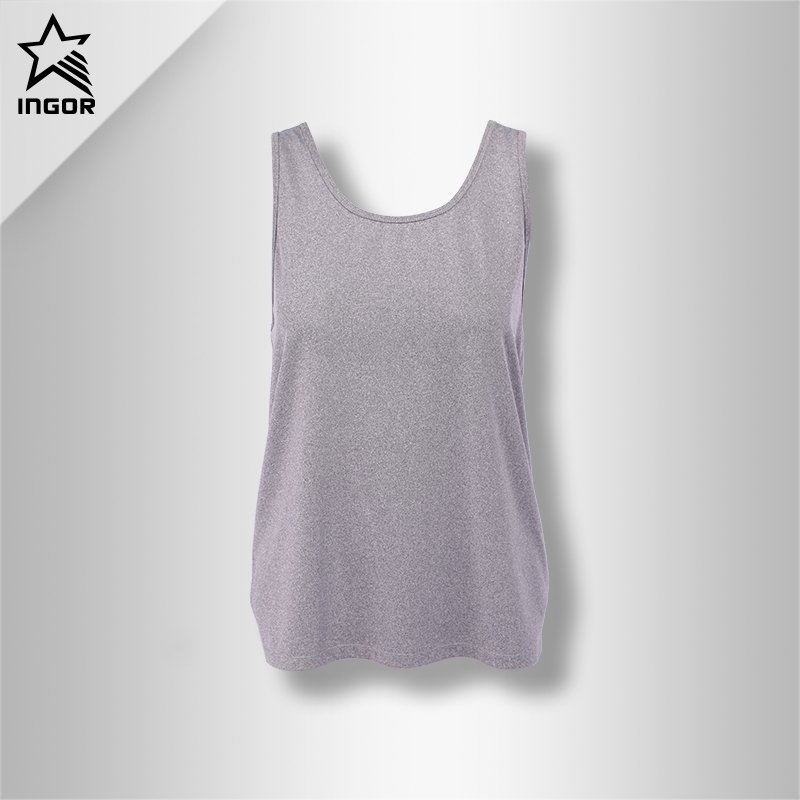 Women Blank Workout Loose Cross Criss Tank Top JK11V004