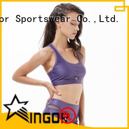 zip patterned back colorful sports bras INGOR Brand