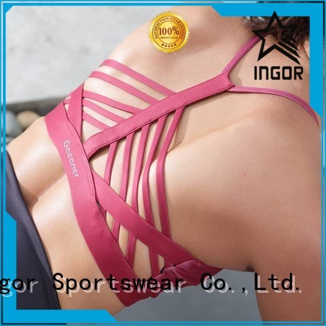 INGOR Brand front strappy colorful sports bras white